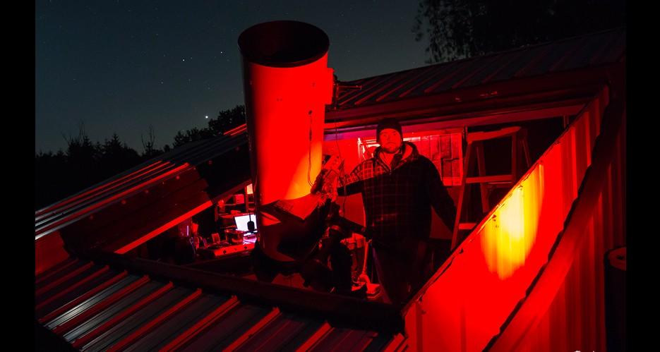 RASC Niagara Centre member Trevor Jones at the CCCA Observatory in Wellandport, Ontario.