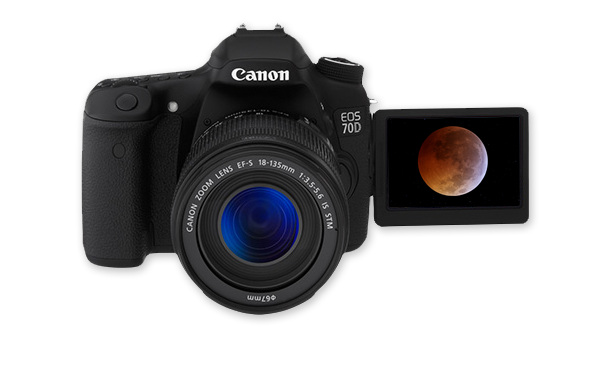 Canon 70D with a live-view flip-out screen for Moon photography