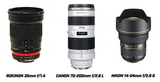 Different examples of camera lens choices for astronomy photography