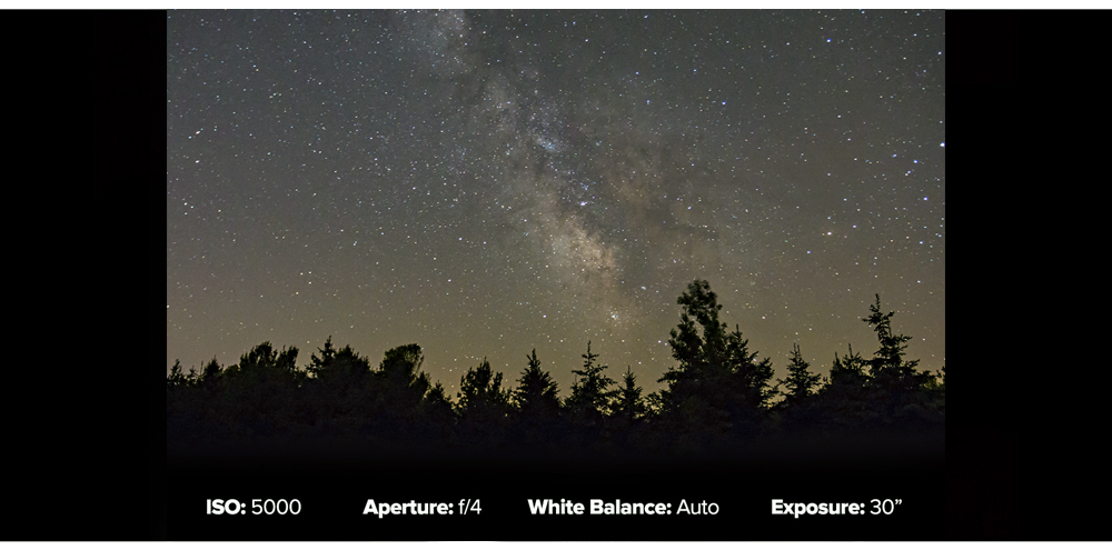 Camera exposure settings for milky way galaxy