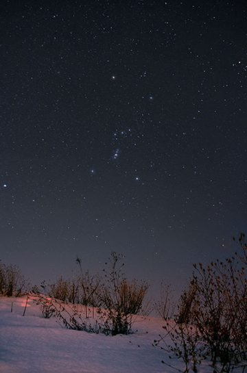 Astrophotography image of the Orion constellation