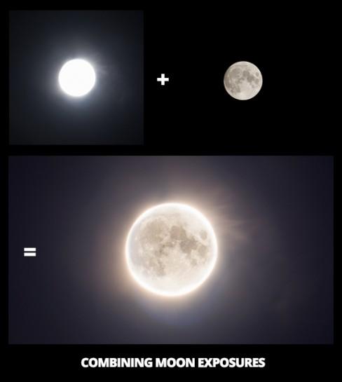 Christmas Moon 2015 - Combining Moon Exposures