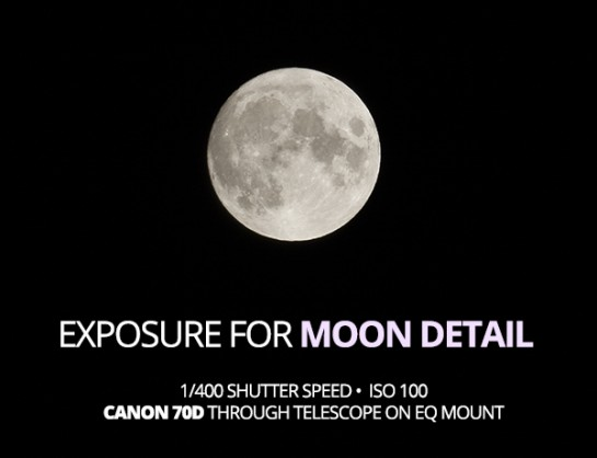 Details on the moon shown in a short camera exposure
