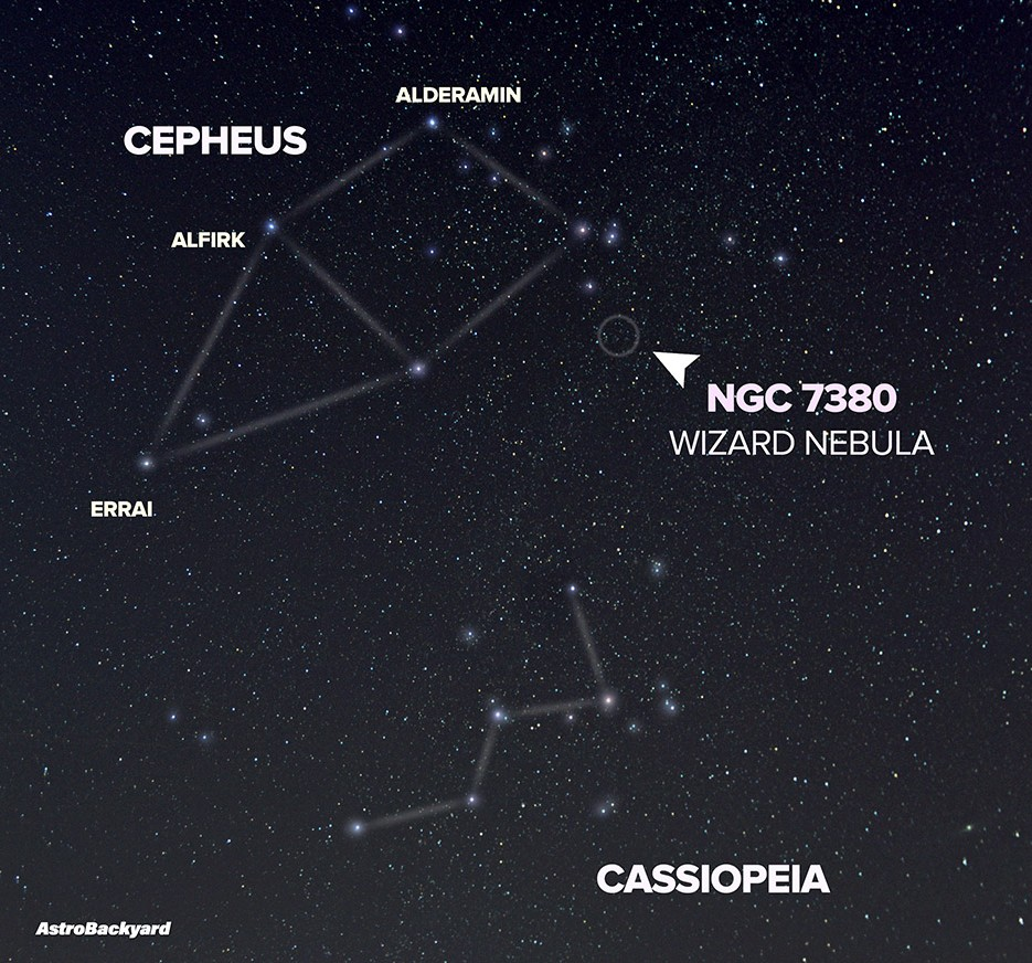 NGC 7380 Star Chart - Find the Wizard Nebula in Cepheus