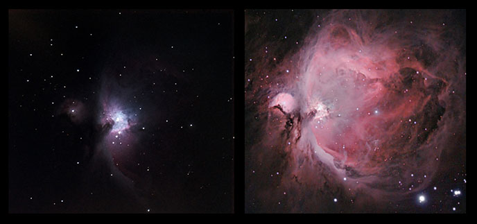 Orion Nebula through a telescope