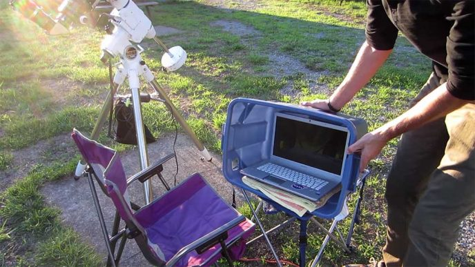Protect laptop outside during astrophotography
