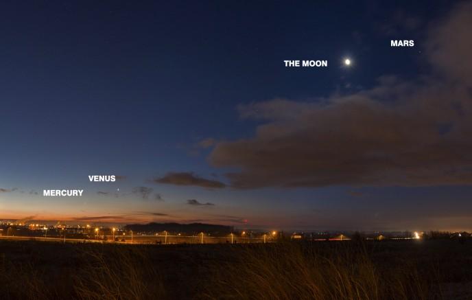 Planets in Pre-Dawn Sky
