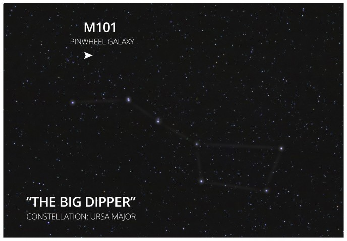 Find M101 in the big dipper constellation
