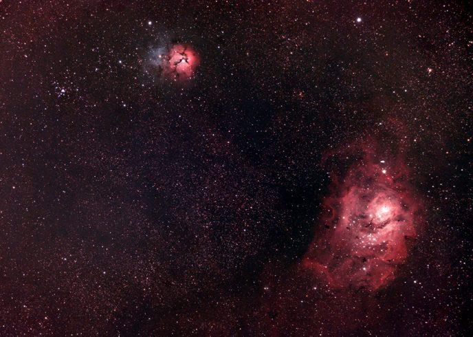 lagoon and trifid nebula - wide field photo