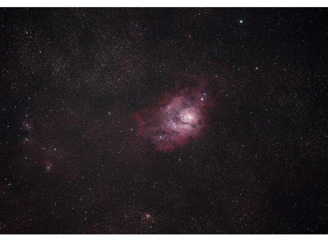 The Lagoon Nebula and Cat's Paw Nebula with a DSLR