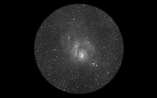 Lagoon Nebula through a telescope or binoculars
