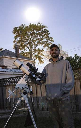 Trevor Jones with his ED80 Telescope