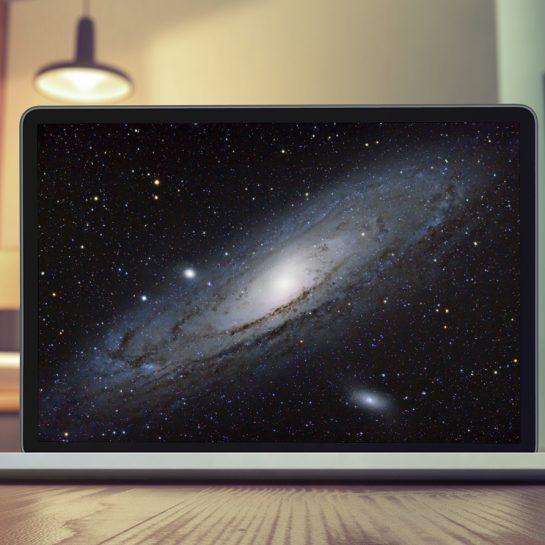 Astronomy Photo on a Computer Screen