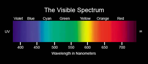 visible spectrum - wavelengths in nm