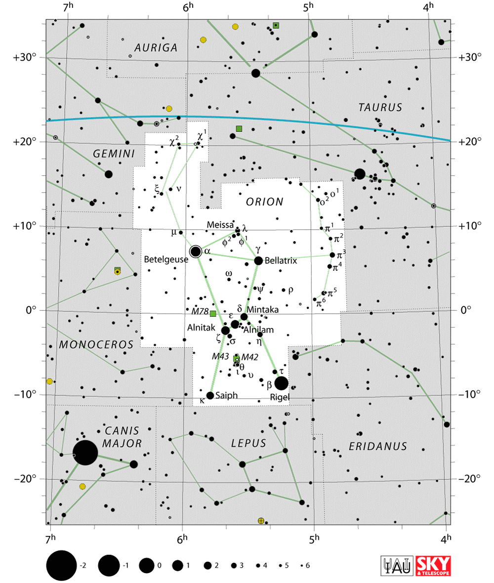 Orion constellation star map