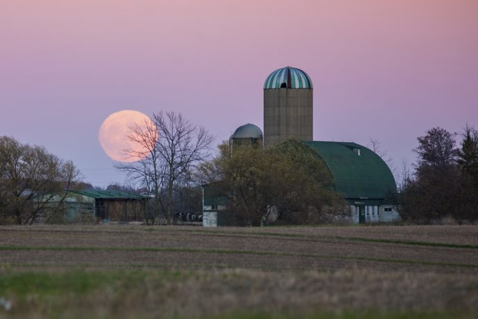 Supermoon landscape astrophotography