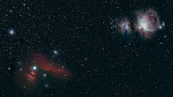 Horsehead Nebula and Orion Nebula wide field