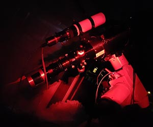 CCD camera attached to telescope
