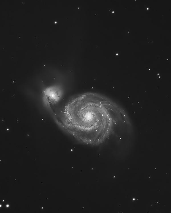 Whirlpool Galaxy through a telescope