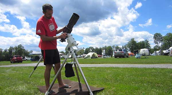 Setting up astronomy telescope