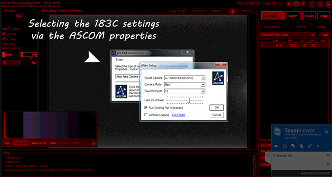 ASCOM settings in APT