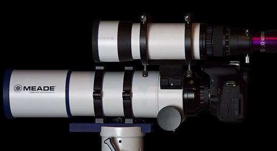 The telescope with a guide scope mounted