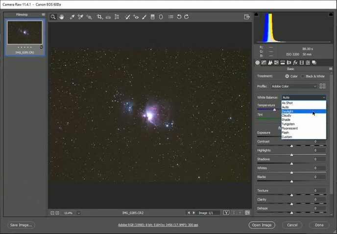 setting white balance for astrophotography