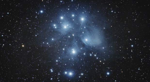 The Pleiades captured using an 80mm refractor telescope