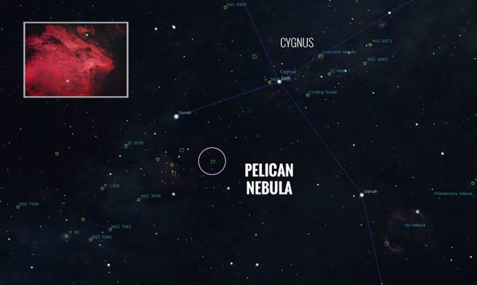 Pelican Nebula Star Map