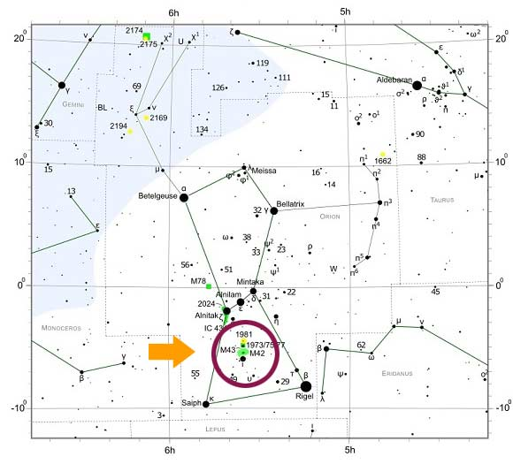 Orion Nebula Star Map