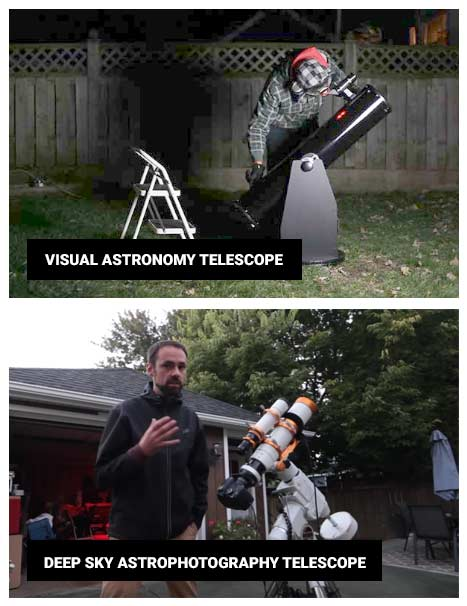 visual astronomy telescope vs. astrophotography telescope