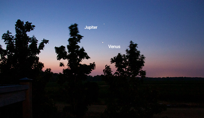 Planets Venus and Jupiter before sunrise