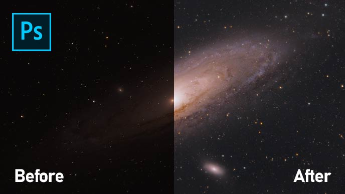 Andromeda Galaxy Image Processing Tutorial in Adobe Photoshop