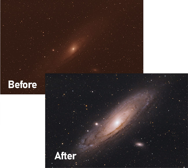 Andromeda Galaxy Image Processing Tutorial in Adobe Photoshop
