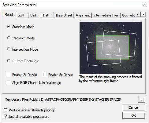 stacking parameters