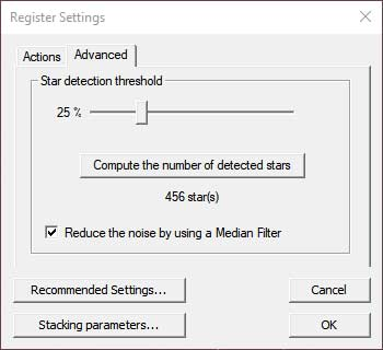 star detection threshold