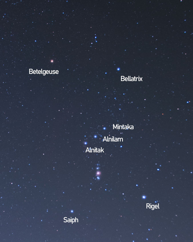 brightest stars in Orion