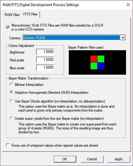 RAW/FITS settings