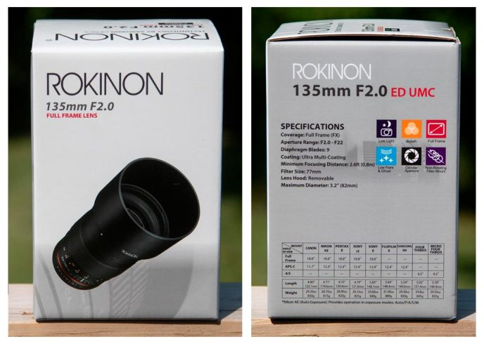 Rokinon 135mm F/2 lens specifications