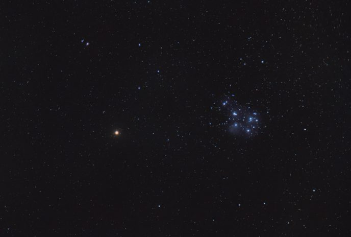 Planet Mars and Pleiades