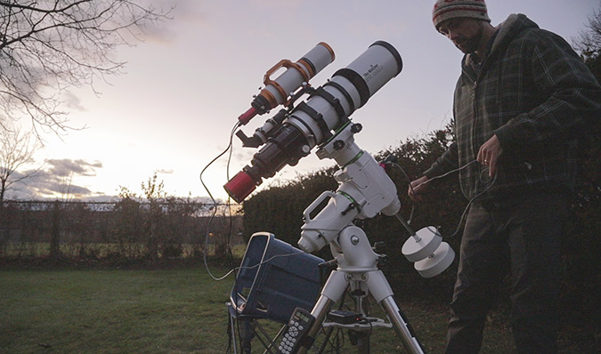 setting up telescope
