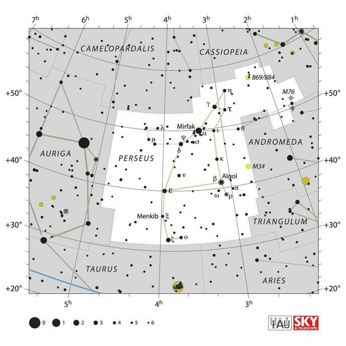 Perseus star map