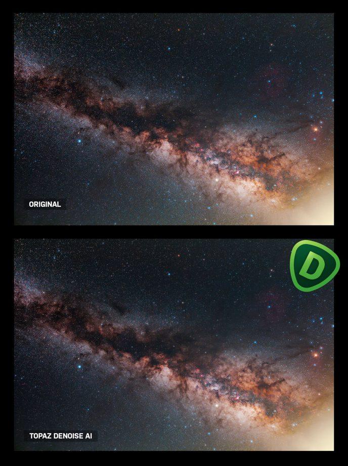 DeNoise AI example on the Milky Way