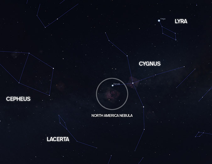 location in the night sky