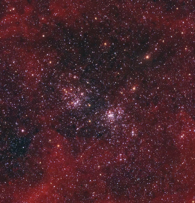 Double Cluster with H-Alpha