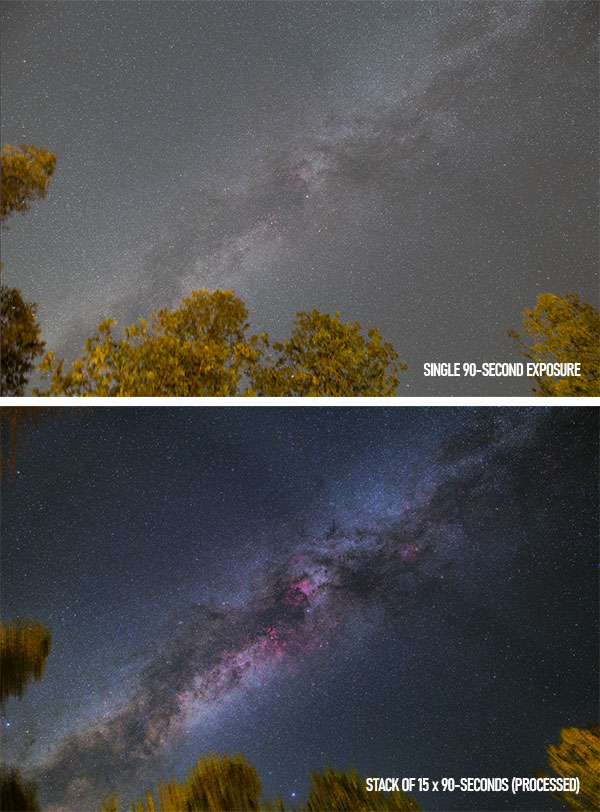 single exposure vs. stacked image