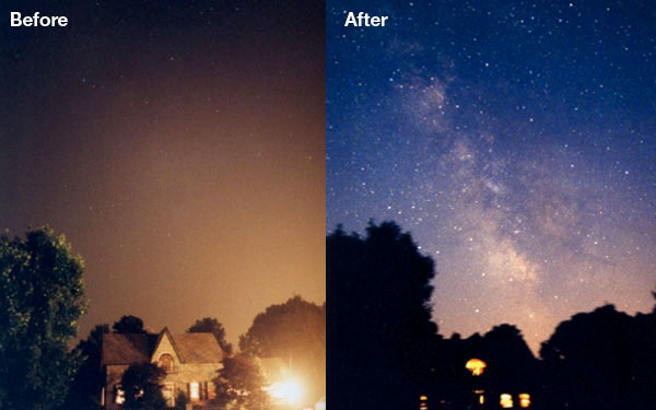 Before and after light pollution
